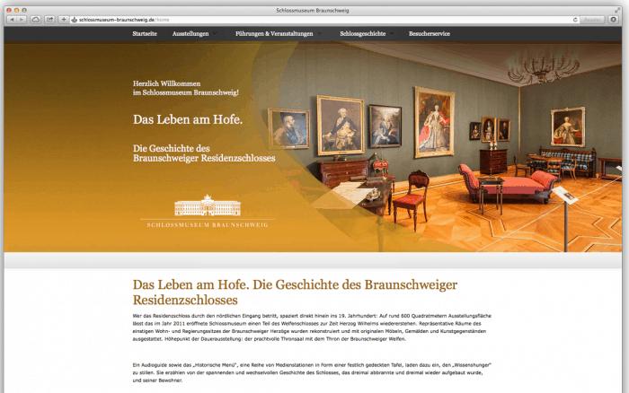 Die Startseite des Internetauftritts des Schlossmuseums.