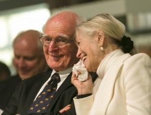 Beide hatten gut lachen: Professor Dr. Hans-Ulrich Wehler und seine Frau Renate bei der Preisverleihung des Lessing-Preises für Kritik 2014. Foto: Peter Sierigk