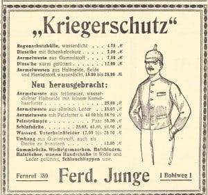 Läden boten alle möglichen warmen und wasserdichten Kleidungsstücke für die Soldaten an der Front an - und machten gute Geschäfte. Anzeige: Archiv E.-J. Zauner
