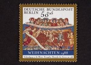 Evangeliar Heinrichs des Löwen, Weihnachtsmarke, 50 + 25 Pfennig