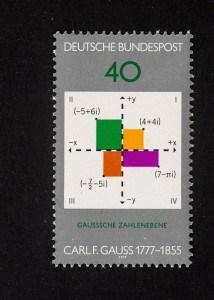 Carl Friedrich Gauß, 200. Geburtstag 1977, 40 Pfennig, Repro: Peter Sierigk