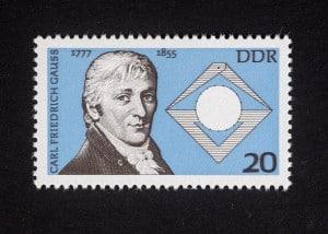 Carl Friedrich Gauß, 200. Geburtstag 1977 DDR, 20 Pfennig, Repro: Peter Sierigk