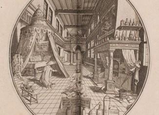 """Heinrich Khunrath: Amphitheatrum Sapientiae Aeternae, 1653, Kupferstich """"Oratorium-Laboratorium"""". Foto: HAB"""