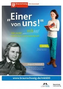"""Plakat mit August Heinrich Hoffmann von Fallersleben. Copyright: """"Braunschweig Stadtmarketing GmbH/Steffen und Bach"""