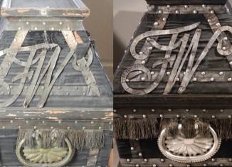Die Gegenüberstellung vorher/nachher zeigt den Erfolg der Restaurierung des Sarges im Dom. Fotos: Jens Klocke