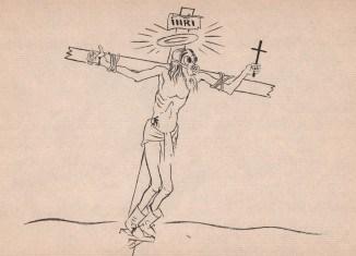 Georges Grosz, Christus am Kreuz mit Gasmaske (1928), ©Estate of George Grosz, NJ / VG Bild-Kunst, Bonn 2015