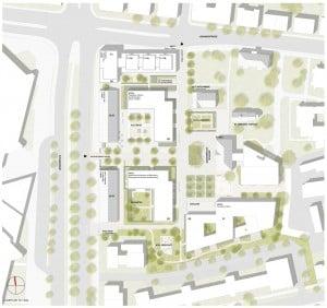 Quartier St. Leonhard / Lageplan. Quelle: Feddersen Architekten / sichtvision