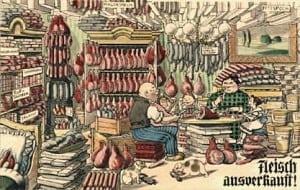 Karikatur über das Horten von Lebensmitteln, während die normale Bevölkerung hungerte. Foto: Stadtarchiv