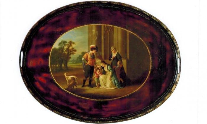 """Tablett aus Eisenblech mit Öl-Lackmalerei: """"Lady Elisabeth Grey bittet Edward IV. um den Besitz ihres verstorbenen Gemahls"""". Foto: Detlev Richter"""