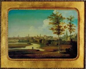 Blick auf die Stadt Braunschweig von Süden als Gemälde auf Eisenblech. Foto: Detlev Richter