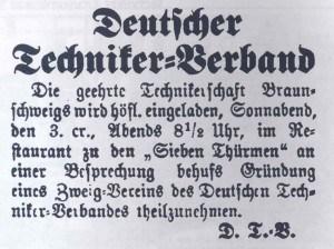 Anzeige mit der Einladung zur Gründung des Technikervereins Braunschweig aus dem Jahr 1887. Foto: Technikerverein