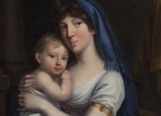 """Ausschnitt aus dem Gemälde """"Prinzessin von Baden Herzogin von Braunschweig-Oels mit Kind"""". Foto: Schlossmuseum/Peter Sierigk"""