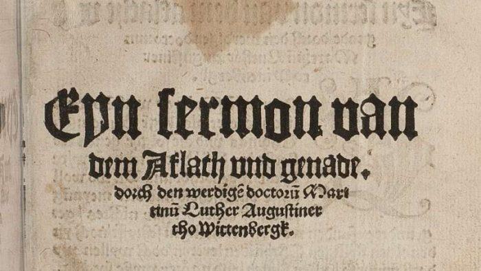 """Ausschnitt von der Titelseite der Luther-Schrift """"Sermon von Ablass und Gnade"""". Foto: Ostwald"""