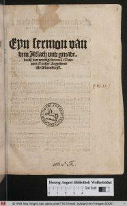 """Titelseite von Luthers Schrift """"Sermon von Ablass und Gnade"""", von der ein Exemplar noch in Wolfenbüttel existiert. Foto: Oswald"""