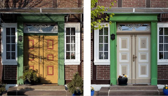 Vorher-Nachher Darstellung der Eingangstür des ehemaligen Wohnwirtschaftsgebäudes in Wenden, Hauptstraße 42. Screenshot/Foto: Heinz Kudalla/Stadt Braunschweig