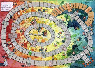 Der Spielplan des Künstlerspiels.