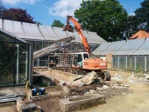 Abriss des alten Gewächshauses im Mai 2017. Foto: Botanischer Garten