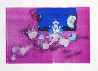 """Christof Maschers """"castle cat' s cask"""" (2018), Lithografie und Sprühfarbe auf Bütten, 70 x 50 cm. Foto: Städtische Galerie Wolfsburg/Janina Snatzke"""