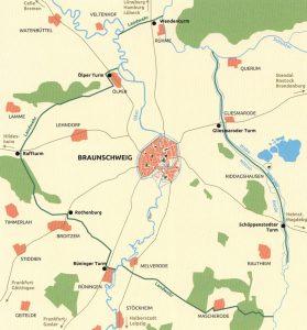 Braunschweig und Umgebung mit Landwehr im 15. Jahrhundert. Foto: Screenshot
