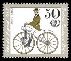 Büssings Fahrrad zierte 1985 eine Briefmarke der Deutschen Bundespost. Foto: Archiv
