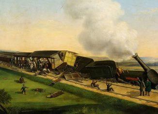 Die noch dampfende Lokomotive Hercynia ist entgleist. Bild eines unbekannten Malers. Archiv: IBR