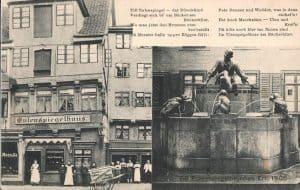 Postkarte von 1906 mit Eulenspiegelhaus und Eulenspiegelbrunnen. Foto: Archiv Thomas Ostwald
