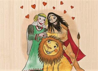 Heinrich mit seiner Ehefrau Mathilde und dem Löwen. Illustration: Tonia Wiatrowski