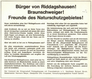 Die Zeitungsanzeige verdeutlicht die Motivation zur Gründung der Bürgerschaft Riddagshausen. Foto: Bürgerschaft