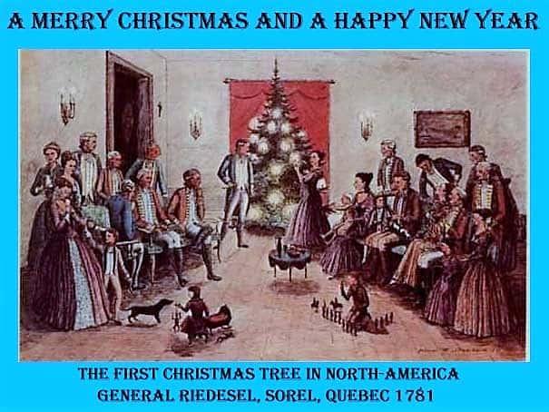Grußkarte mit dem ersten Weihnachtsbaum Nordamerikas. Foto: Archiv IBR