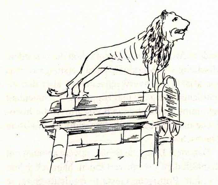 """Der Braunschweiger Löwe, gezeichnet von Hans Wesker als Illustration für das Büchlein """"Gedanken über das Braunschweigische"""" von Prof. Dr. Werner Knopp. Foto: Der Löwe"""