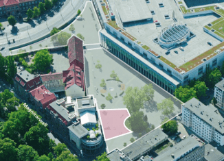 Blick auf Herzogin-Anna-Amalia-Platz (mit möglicher Spielfläche für das Kleine Haus des Staatstheaters) und den St. Nicolai-Platz. Foto: Ackers Städtebau Partner