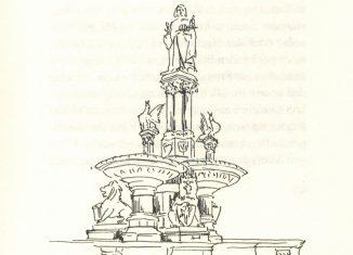 """Heinrichs-Brunnen auf dem Hagenmarkt, gezeichnet von Hans Wesker als Illustration für das Büchlein """"""""Gedanken über das Braunschweigische"""" von Prof. Dr. Werner Knopp. Foto: Der Löwe"""