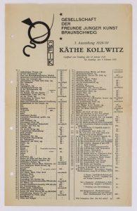 Gemäldeauflistung der Käthe-Kollwitz-Ausstellung. Foto: Schlossmuseum
