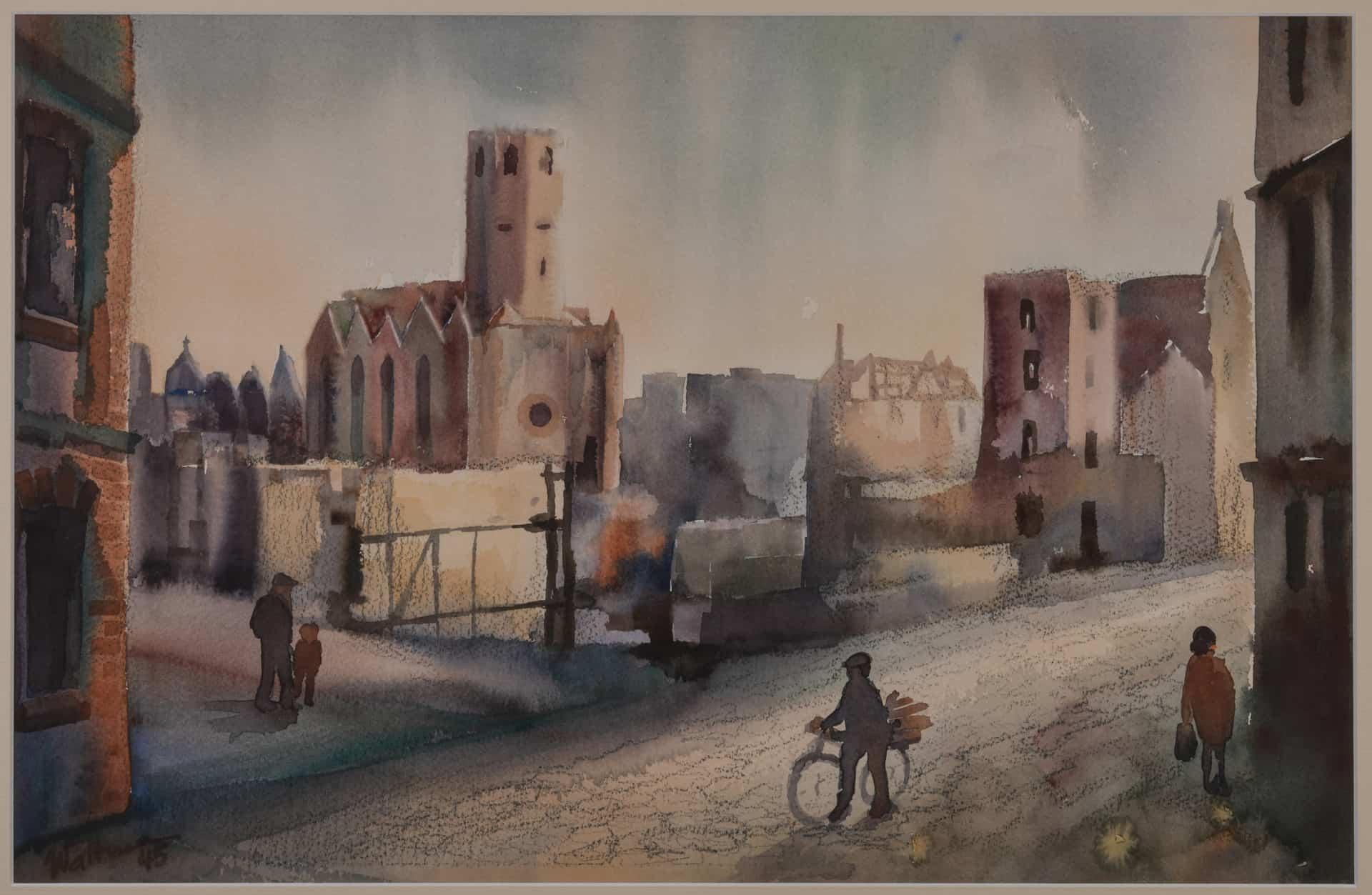 Der Alltag ist eingekehrt: der Bäckerklint mit der Ruine der Petrikirche von Herbert Waltmann. Foto: Stiftung Prüsse / Andreas Greiner-Napp