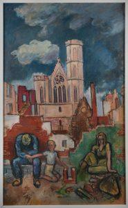 Anrührend: Hermann Flesche zeigt eine ausgebombte Familie in den Trümmern vor der St. Andreaskirche Foto: Stiftung Prüsse / Andreas Greiner-Napp