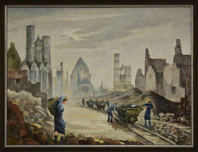 Mühseliger Wiederaufbau: eine Trümmerbahn auf der Fallersleber Straße zum Hagenmarkt. Foto: Stiftung Prüsse / Andreas Greiner-Napp