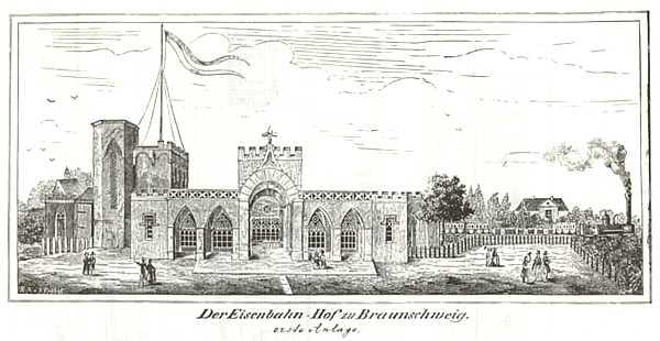 """Braunschweigs erster Bahnhof 1838. Er wurde bereits 1845 durch den bekannten """"Alten Bahnhof"""", der ebenfalls von Ottmer stammt, ersetzt. Kupferstich von 1838. Foto: wikimedia"""