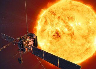 """Die rund 1.800 Kilo schwere Raumsonde """"Solar Orbiter"""" startete am 8. Februar ihre Reise in eine Umlaufbahn um die Sonne. Foto: ATG medialab/dpa"""