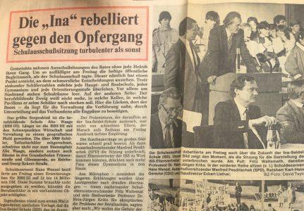 Zeitungsbericht über die Demonstration vor der Schulausschusssitzung des Rates der Stadt. Repro: Archiv Manfred Urnau