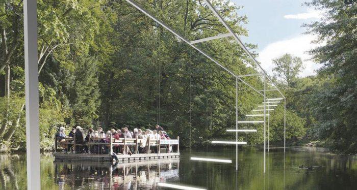 """Die """"Light Steps"""" von Brigitte Kowanz werden Okerarm in Höhe des Steigenberger Hotels installiert. Visualisierung: Studio Kowanz"""