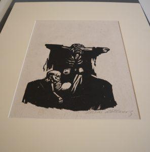 Angst, Käthe Kollwitz (1867-1945), Holzschnitt auf Papier