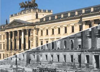 Titelbild der Broschüre zeigt eine Collage mit einem aktuellen und einem Nachkriegs-Foto. Screenshot: Der Löwe
