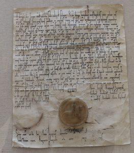 Urkunde über die Grundstücksüberlassung durch Heinrich den Löwen (Kopie). Foto: Der Löwe