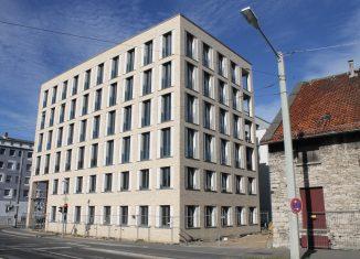 Blick auf das Eckhaus am Quartier St. Leonhard. Foto: RBS