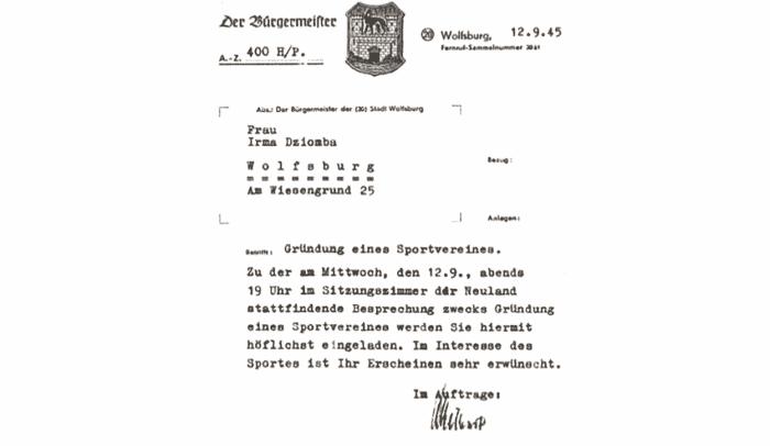 Mit diesem Brief wurde Irma Dziomba zur Gründung des VfL Wolfsburg eingeladen. Foto: VfL Wolfsburg