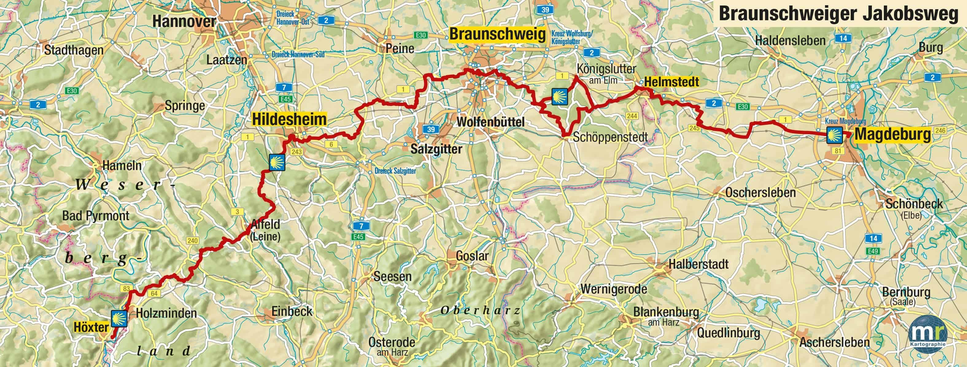 Die Route des Braunschweiger Jakobswegs von Magdeburg bis Höxter. Karte: Ev. Akademie Braunschweig