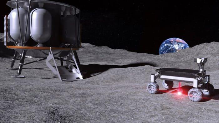 Der Vision ein Stück näher: Moonrise-Technologie im Einsatz auf dem Mond – mit angeschaltetem Laser beim Aufschmelzen von Mondstaub. Foto: Illustration: LZH