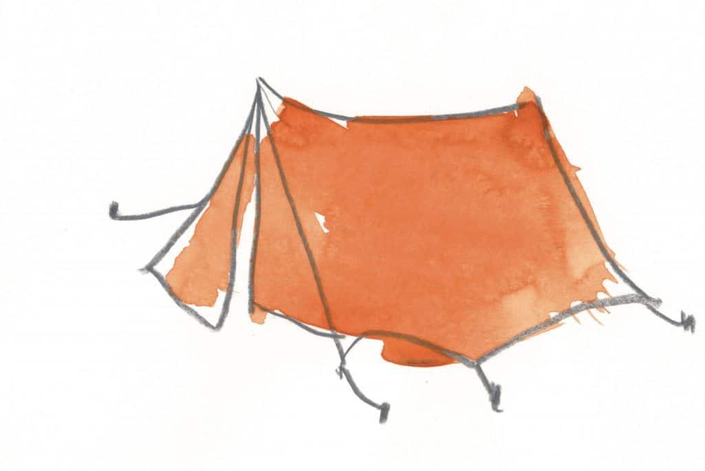 """""""Zelt"""" von Güde Renken, Farbstift/Aquarellfarbe auf Papier."""