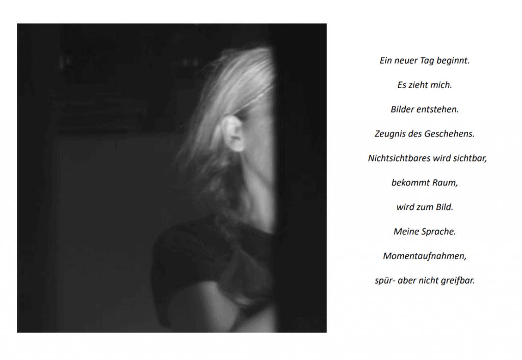 """Foto und Text aus """"Blütezeit von Yvonne Salzmann."""