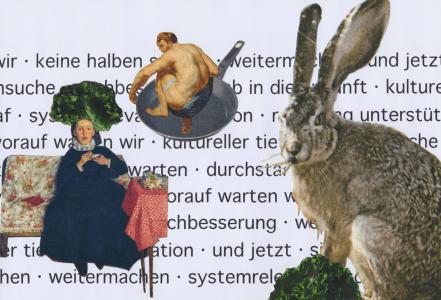 """Collage """"und jetzt"""" von Rosi Marx."""
